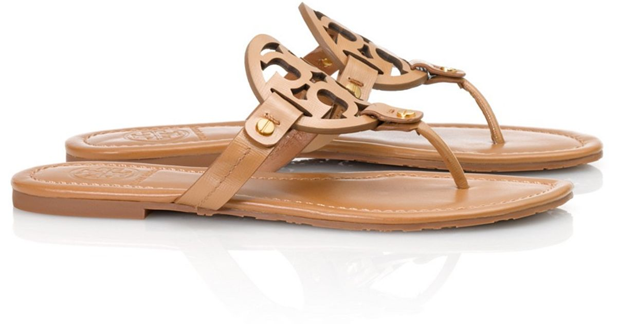 e448f00f3 Lyst - Tory Burch Patent Leather Miller Sandal in Brown