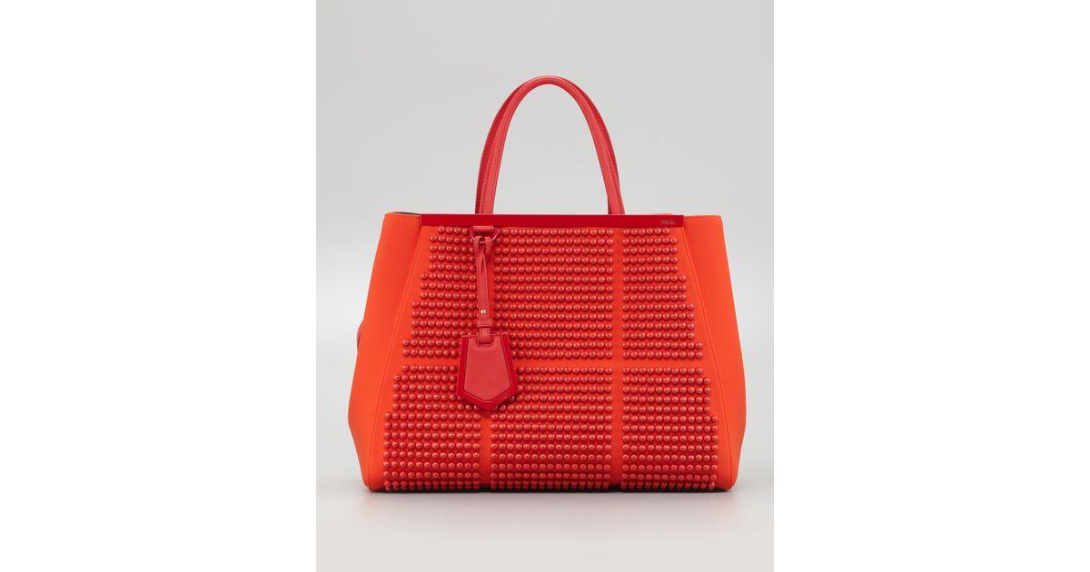 Lyst - Fendi 2jours Studded Neoprene Medium Tote Bag in Red 76d8926914fd7