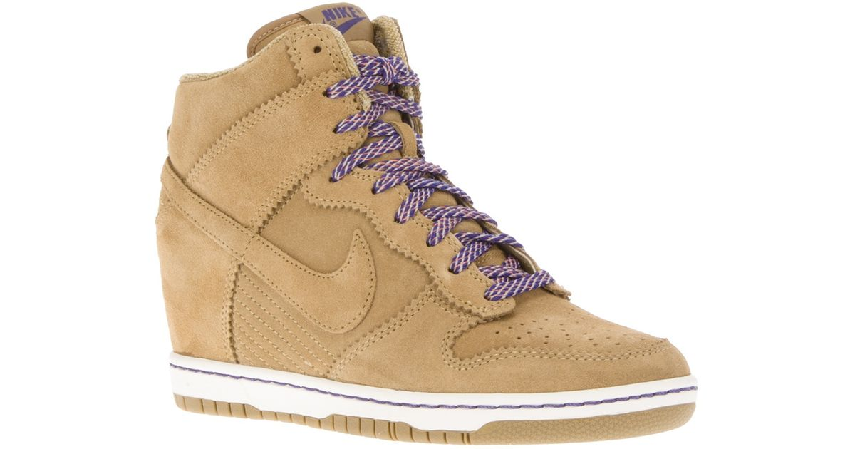 02144e18b2abf ... low price nike dunk wedge hitop sneaker in natural lyst 71aba 808c6