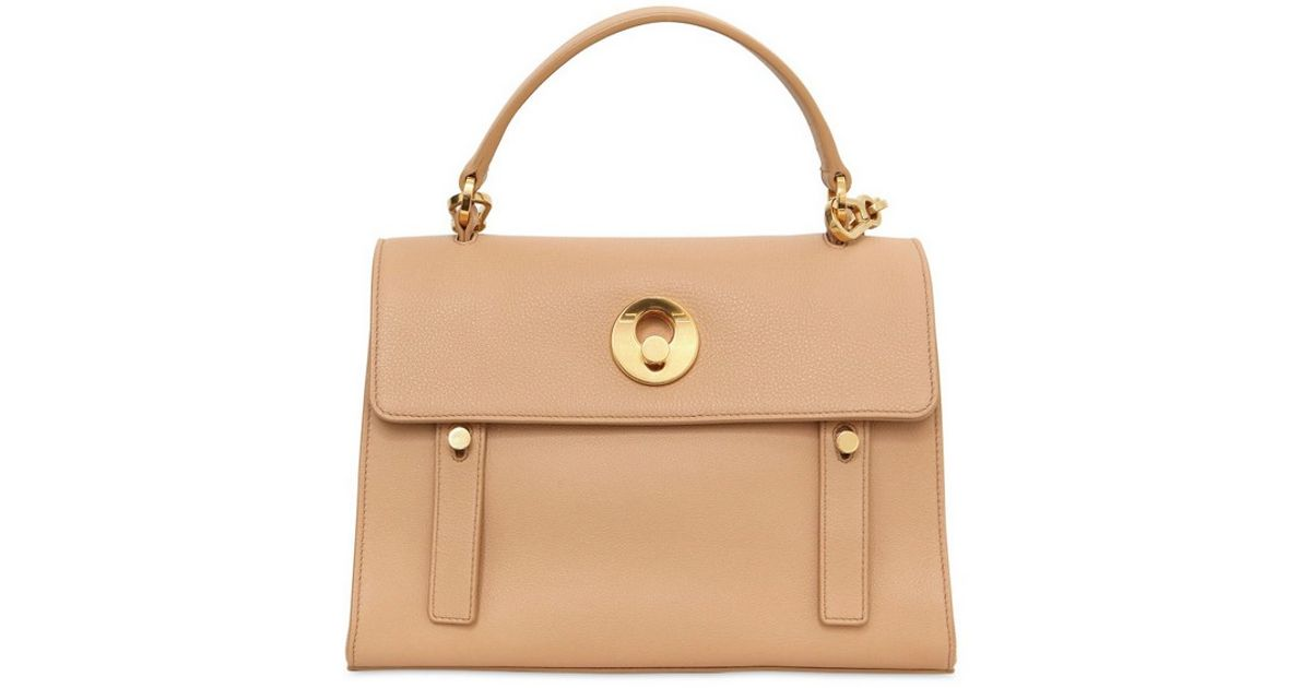 f126356bd8b62 Lyst - Saint Laurent Small Muse Two Leather and Canvas Bag in Natural