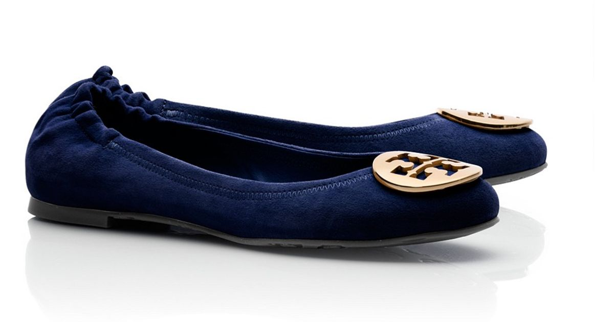 6e4cb6fa24f0 ... new zealand lyst tory burch suede reva ballet flat in blue 30fd4 4bc2b