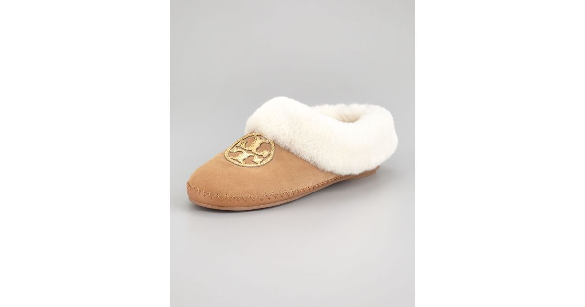 Tory Burch Shearling Suede Slippers clearance low shipping fee cheap discount authentic riva9PT6