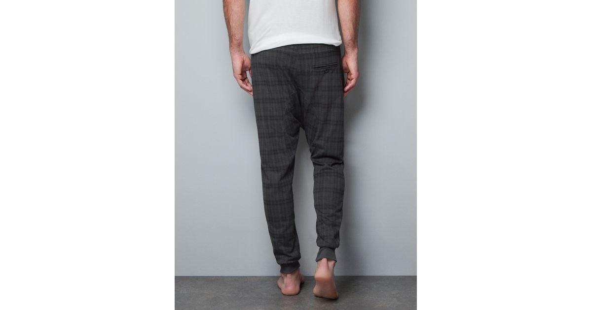 Zara Checked Harem Pants in Gray for Men | Lyst