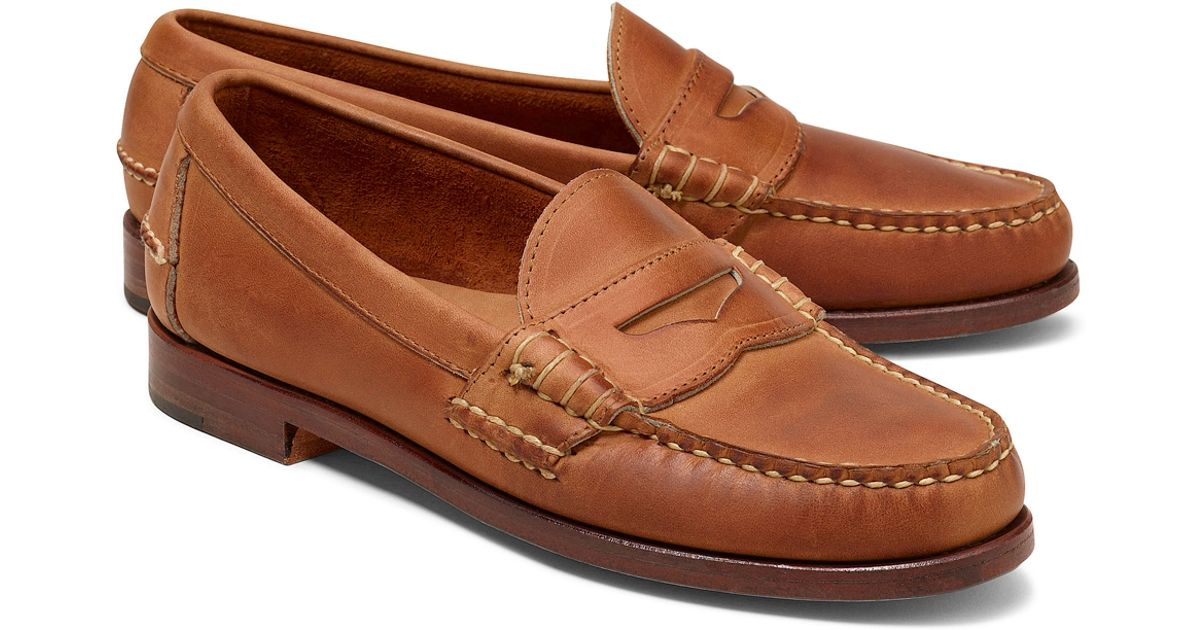 2d7a90c1315447 Lyst - Brooks Brothers Rancourt Co Beef Roll Penny Loafers in Brown for Men
