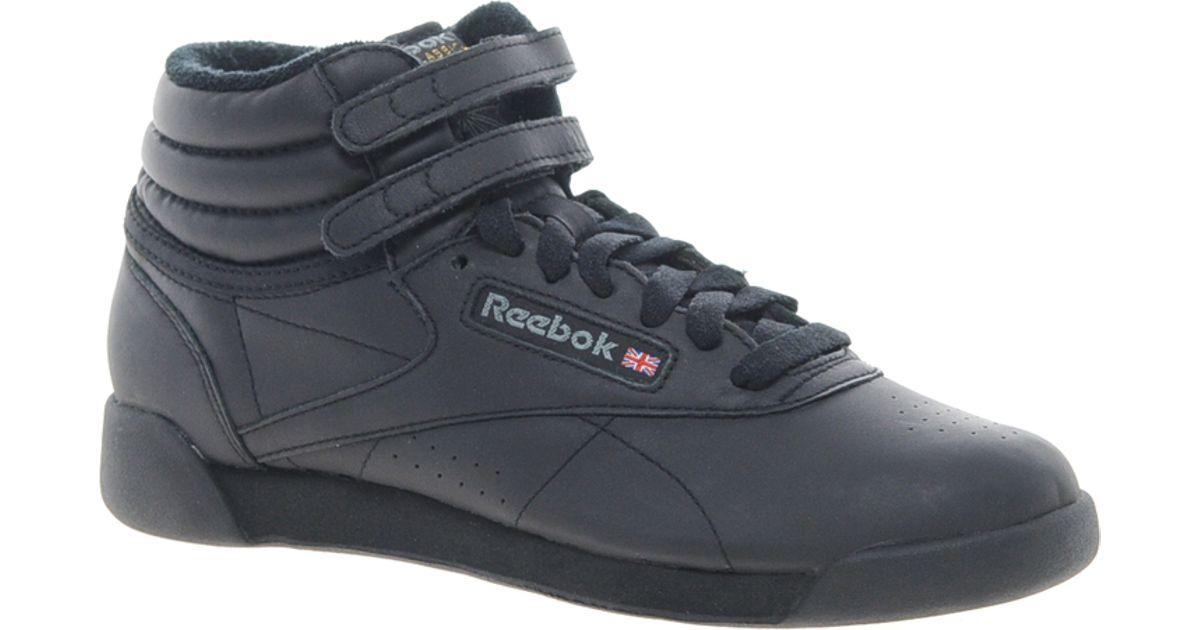 Reebok Freestyle Black High Top Sneakers In Black Lyst