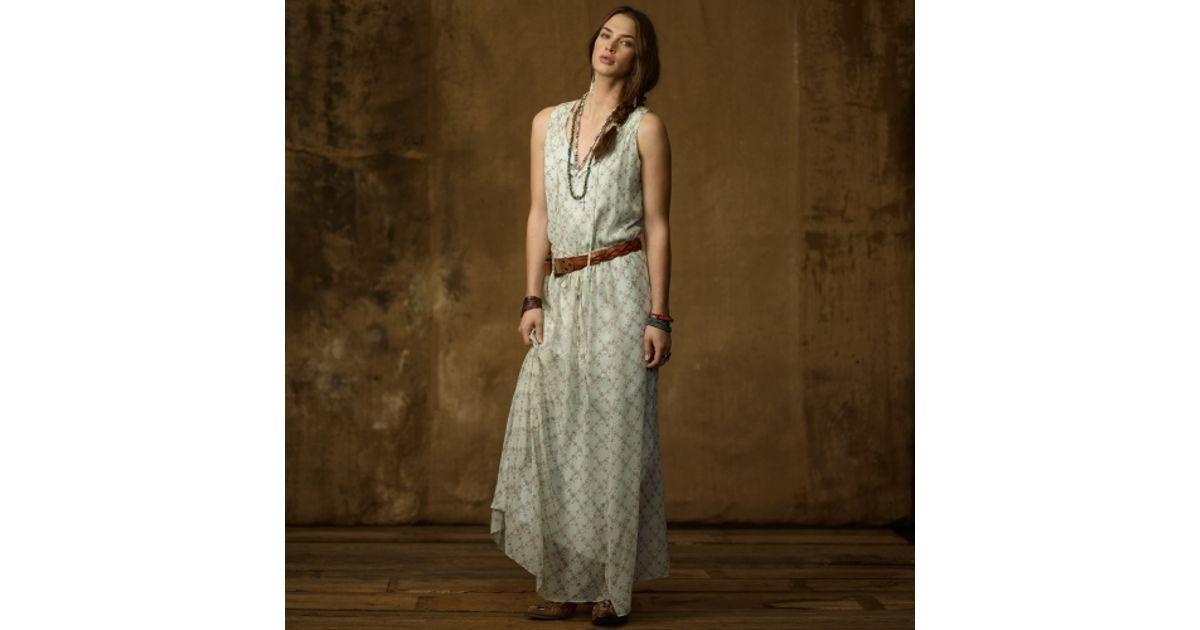 Lyst - Ralph Lauren Sleeveless Boho Dress in Natural