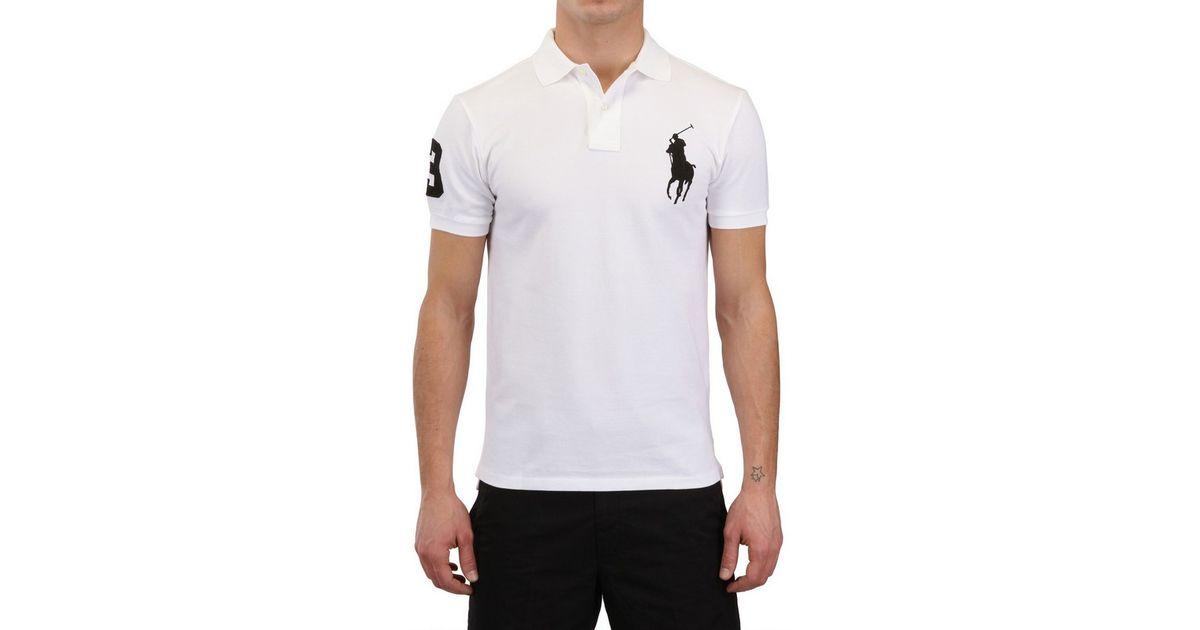 Ralph Lauren Blue Label Piquet Slim Fit Big Logo Polo In White For