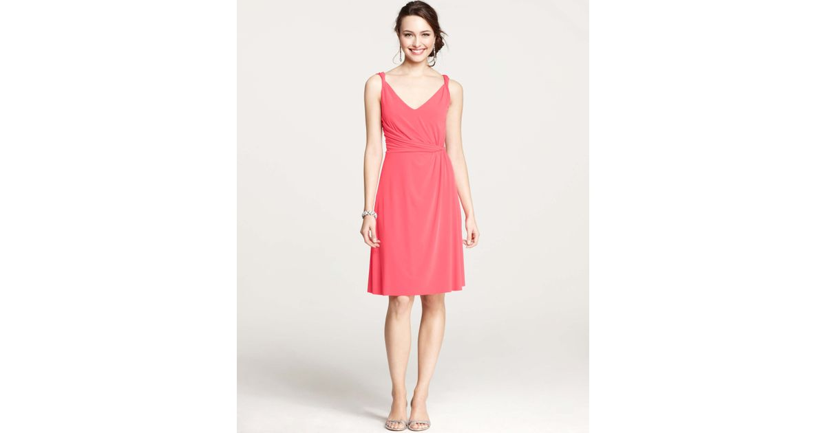 Lyst - Ann Taylor Jersey Twisted Shoulder Strap Bridesmaid Dress in Pink