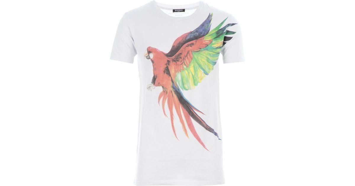 a6dab90f9b49 Balmain Parrot Tshirt in White for Men - Lyst