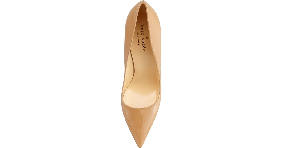 Kate spade Licorice Patent Pointedtoe Pump Camel in Natural | Lyst