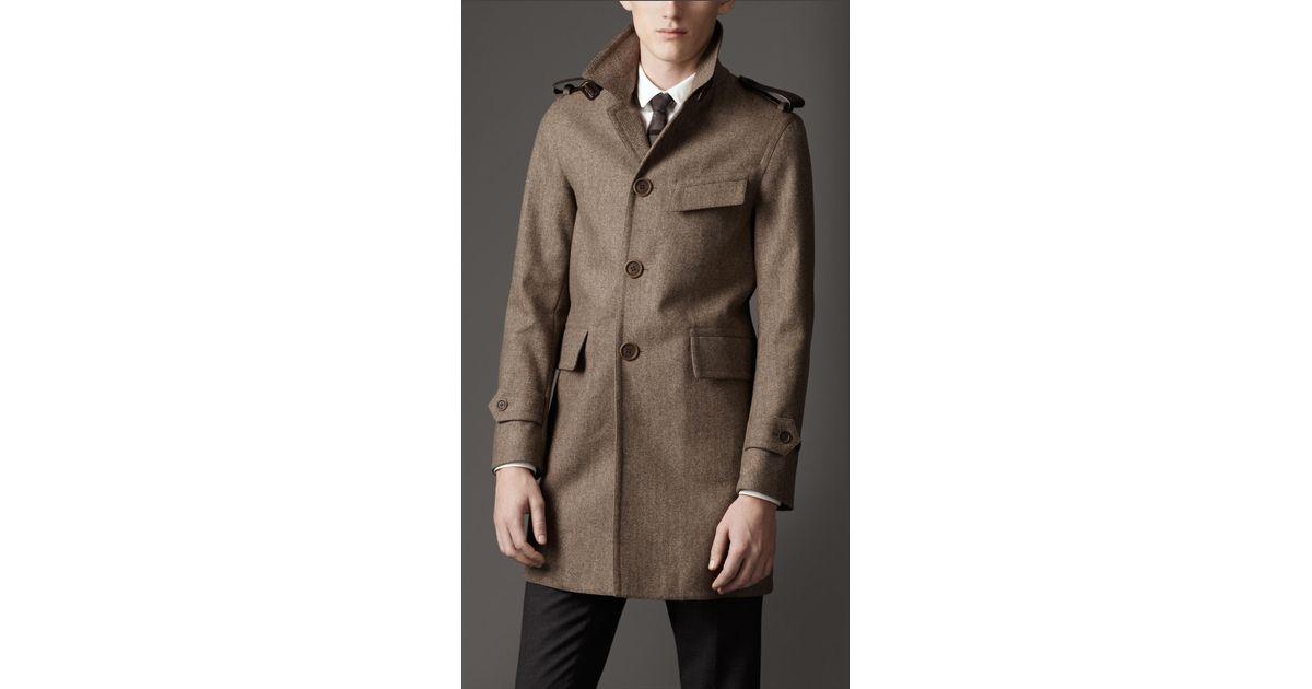 Burberry Leather Detail Herringbone Car Coat in Brown for Men | Lyst