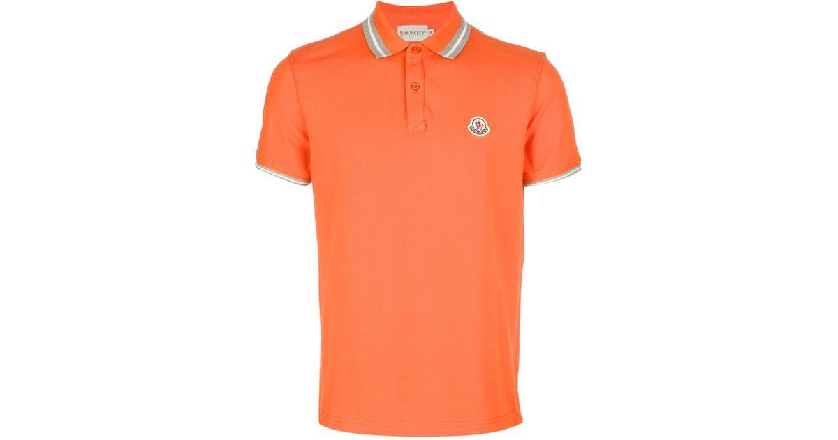 b9893db697a4 Moncler Logo Polo Shirt in Orange for Men - Lyst