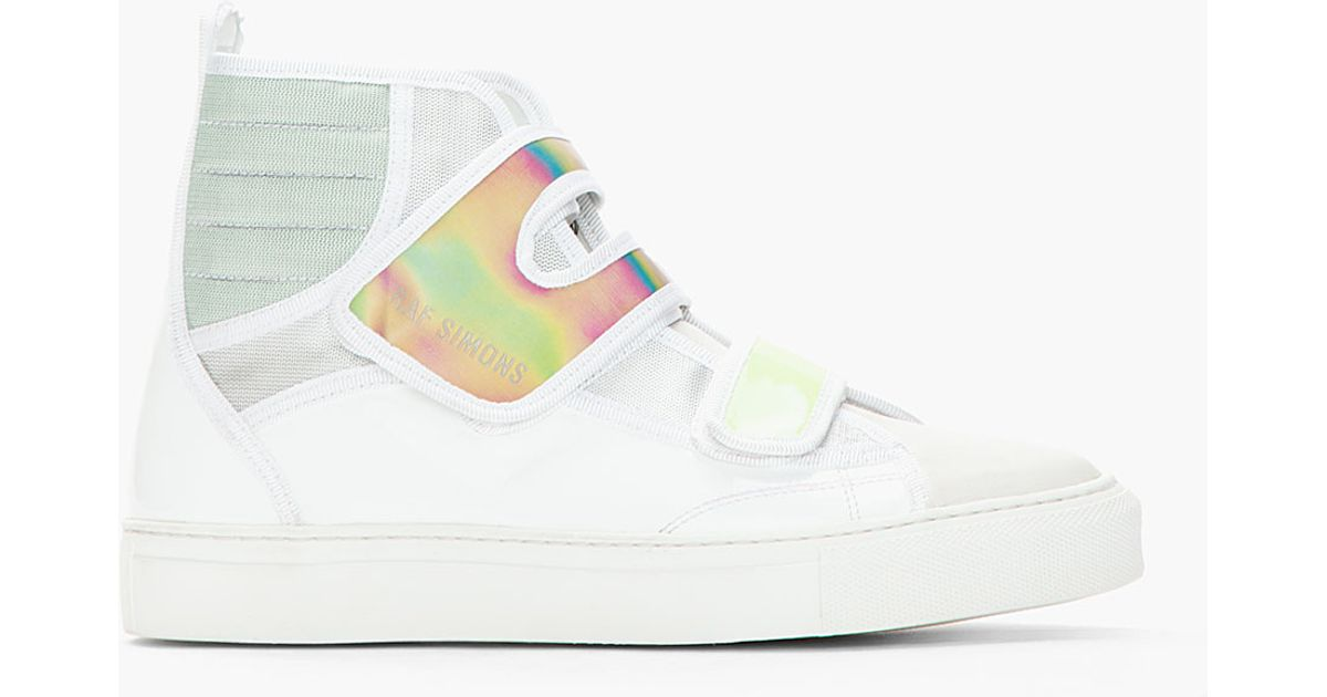 1a0bb78a6f2e Lyst - Raf Simons White Green Holographic Velcro High Top Sneakers in White  for Men