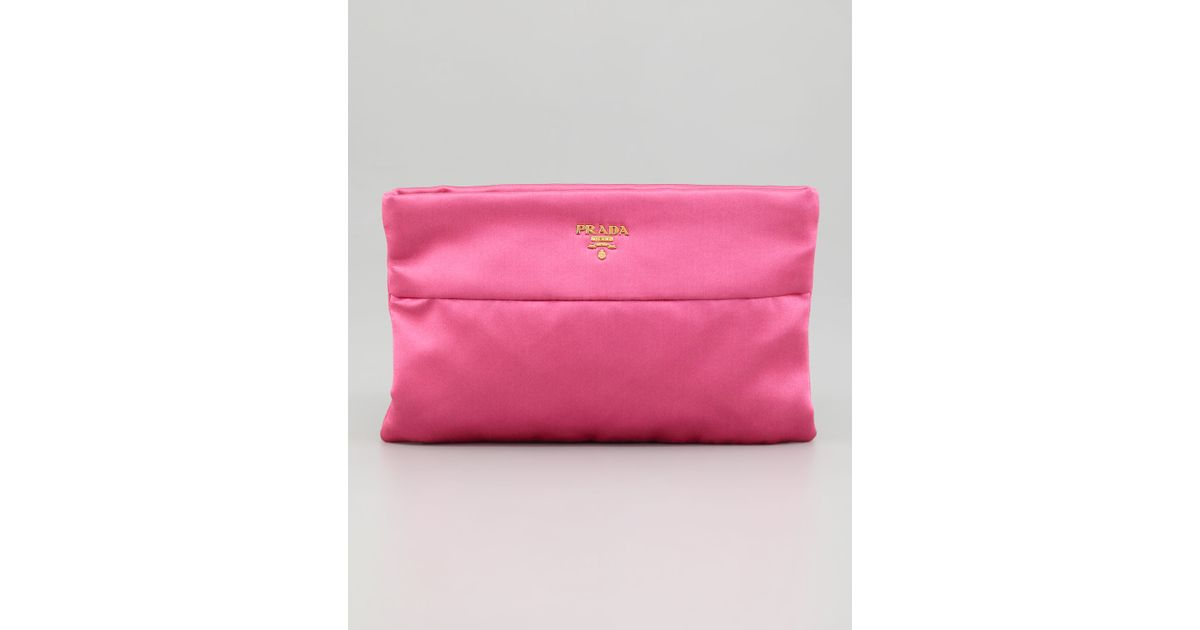 b6d9f947d1e0 ... hot lyst prada satin clutch bag in pink 0537b d95c9