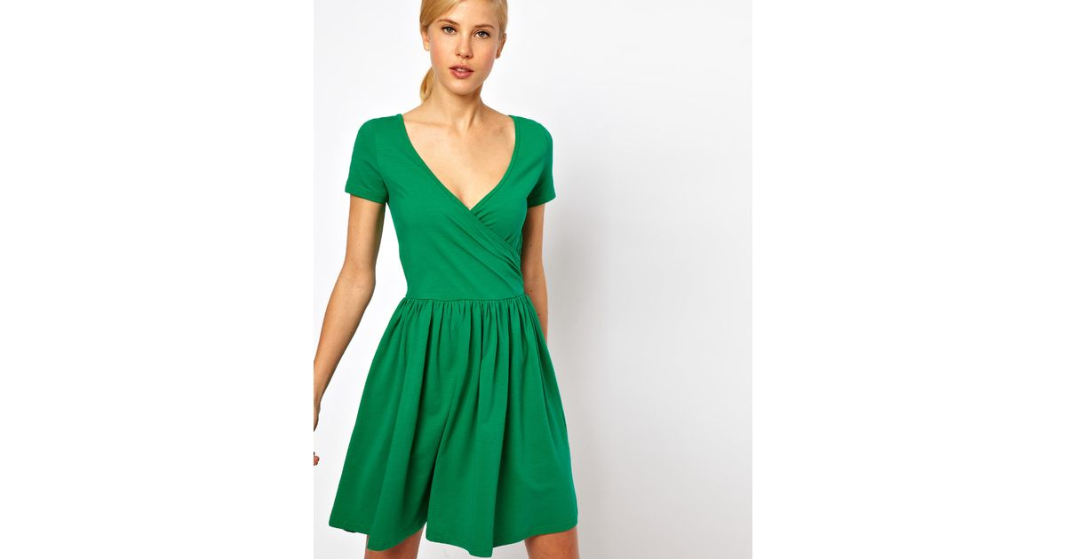 a8722fadc6 Lyst - ASOS Skater Dress with Ballet Wrap and Short Sleeves in Green
