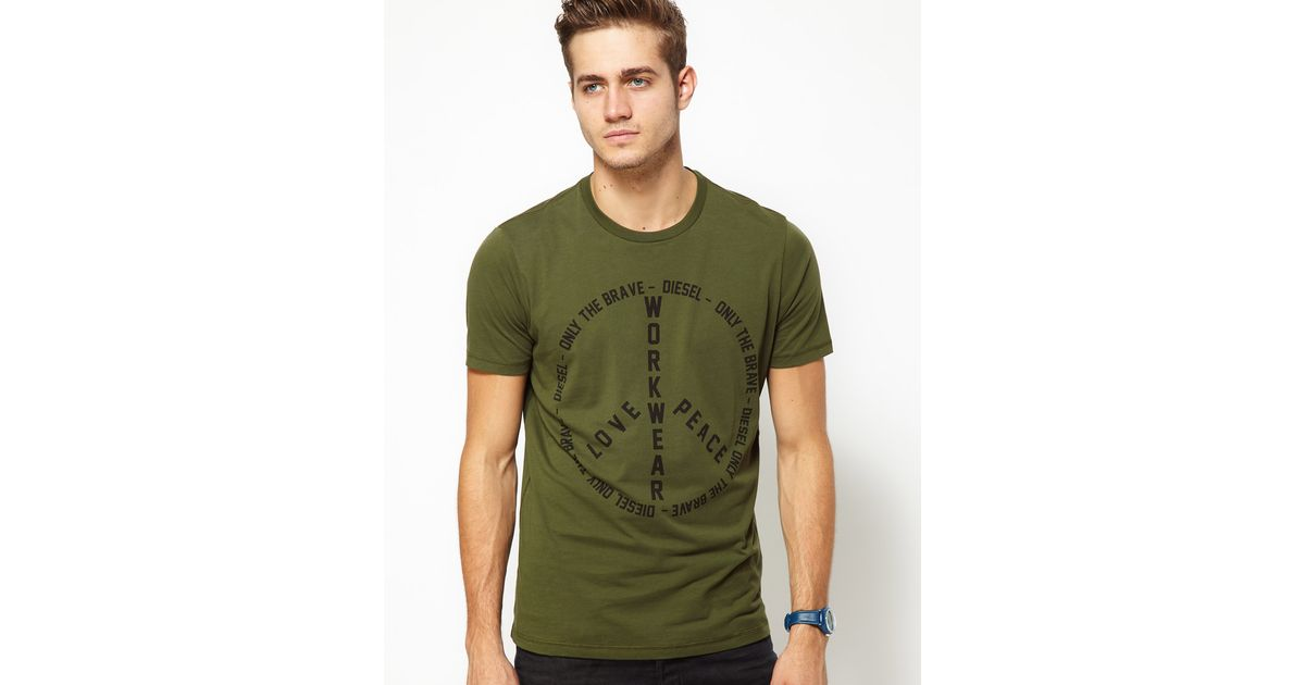 35f9fb25 DIESEL Tshirt Tfritz Peace Print in Green for Men - Lyst