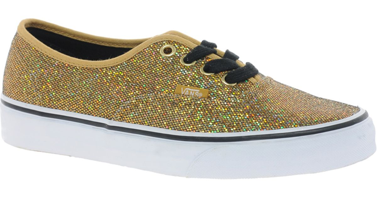 a7754e50eebf4 Lyst - Vans Authentic Gold Glitter Trainers in Metallic