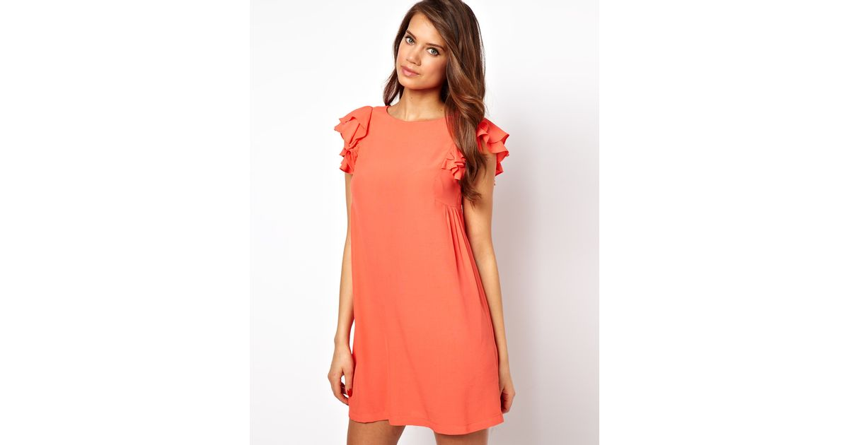 Lyst Asos Shift Dress With Frill Sleeves In Orange
