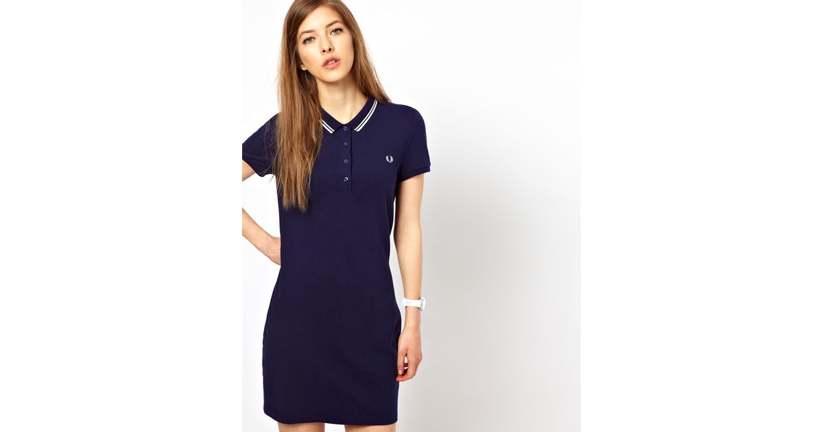 f2772ce3969 Fred Perry Twin Tipped Polo Shirt Dress in Blue - Lyst