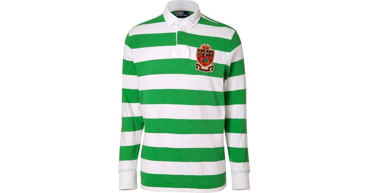 2abaf7a3de9a Lyst - Ralph Lauren Signal Greenwhite Striped Cotton Rugby Shirt in Green  for Men