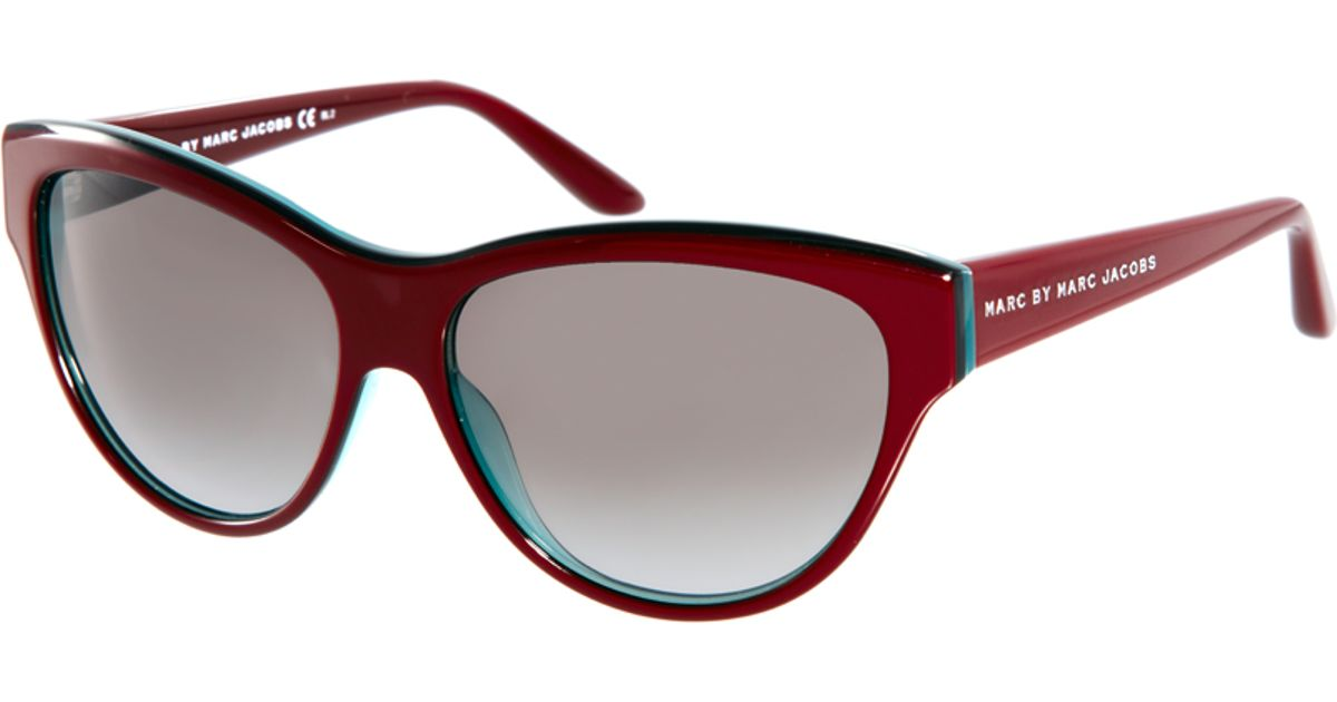 Marc Jacobs Red Sunglasses  marc by marc jacobs burgundy cat eye frame sunglasses in red lyst