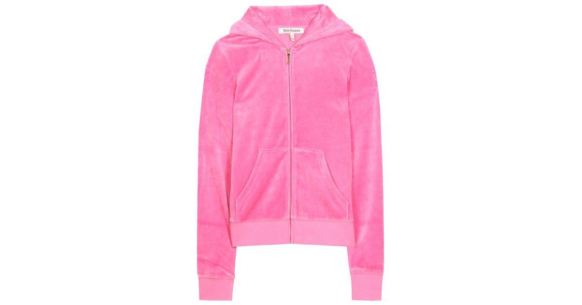 7994565ee3 Juicy Couture Embellished Logo Velour Hoodie in Pink - Lyst