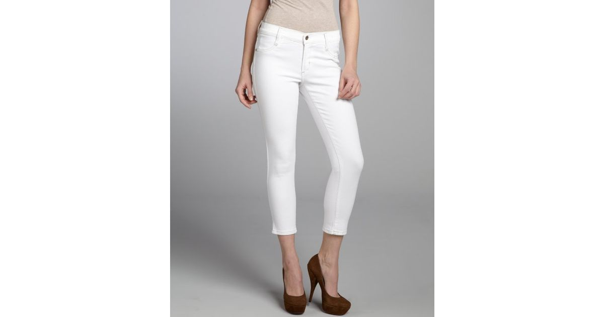 James jeans White Coated Stretch Denim Twiggy Cropped Skinny Jeans ...