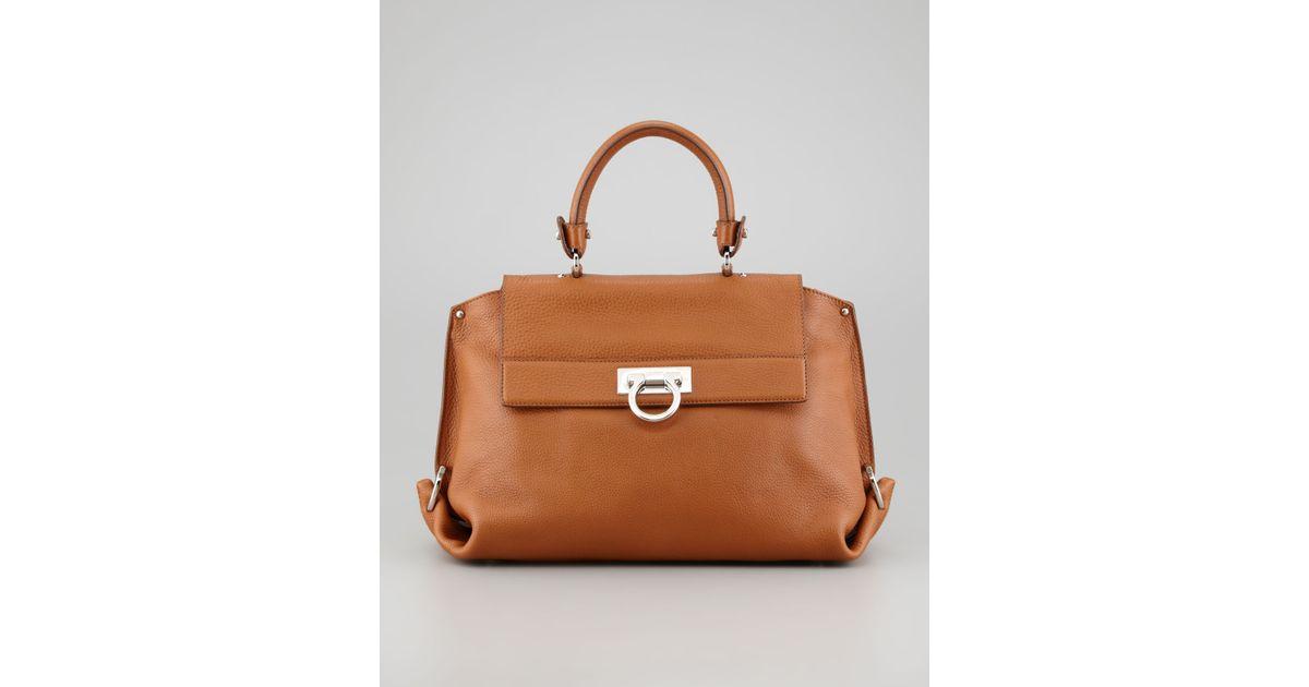 654fd3296314 Lyst - Ferragamo Sofia Small Satchel Bag in Brown