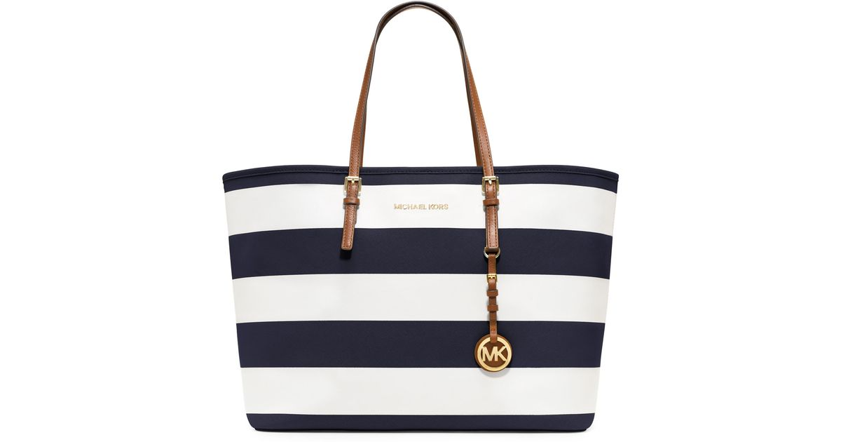 bf7640088ea90c Michael Kors Medium Jet Set Striped Travel Tote in Blue - Lyst