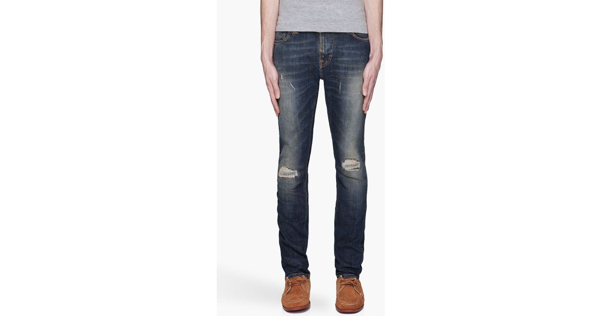 1b3c7c9ddd5 Nudie Jeans Distressed Thin Finn Organic Cotton Jeans in Blue for Men - Lyst
