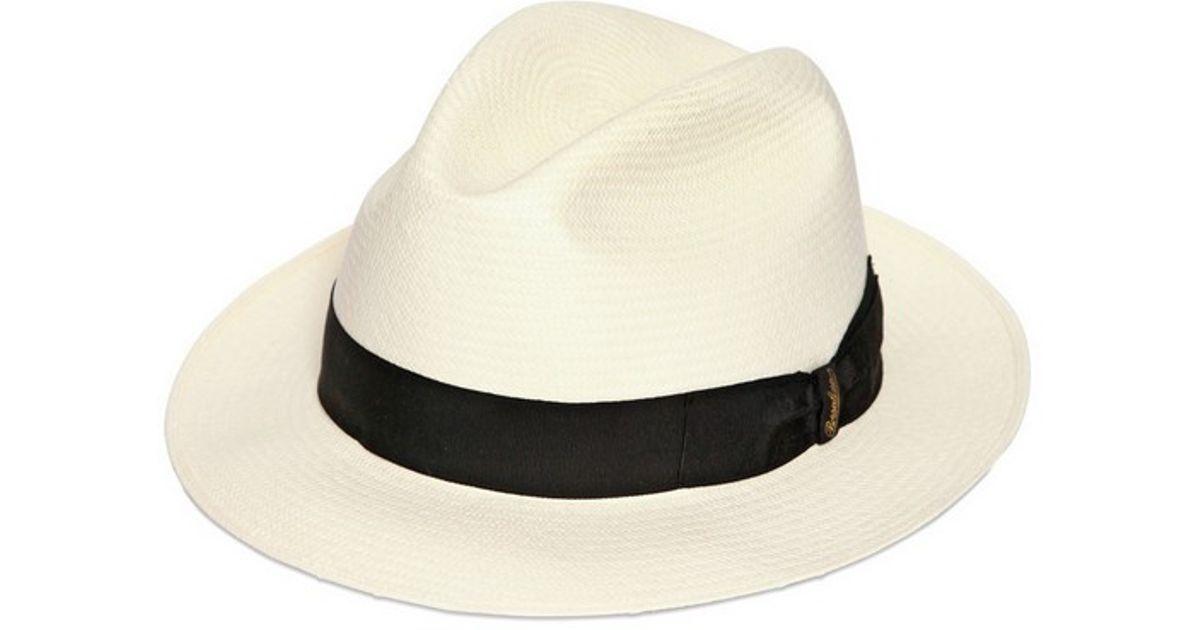 4052be38 Borsalino Classic Panama Narrow Brimmed Straw Hat in White - Lyst