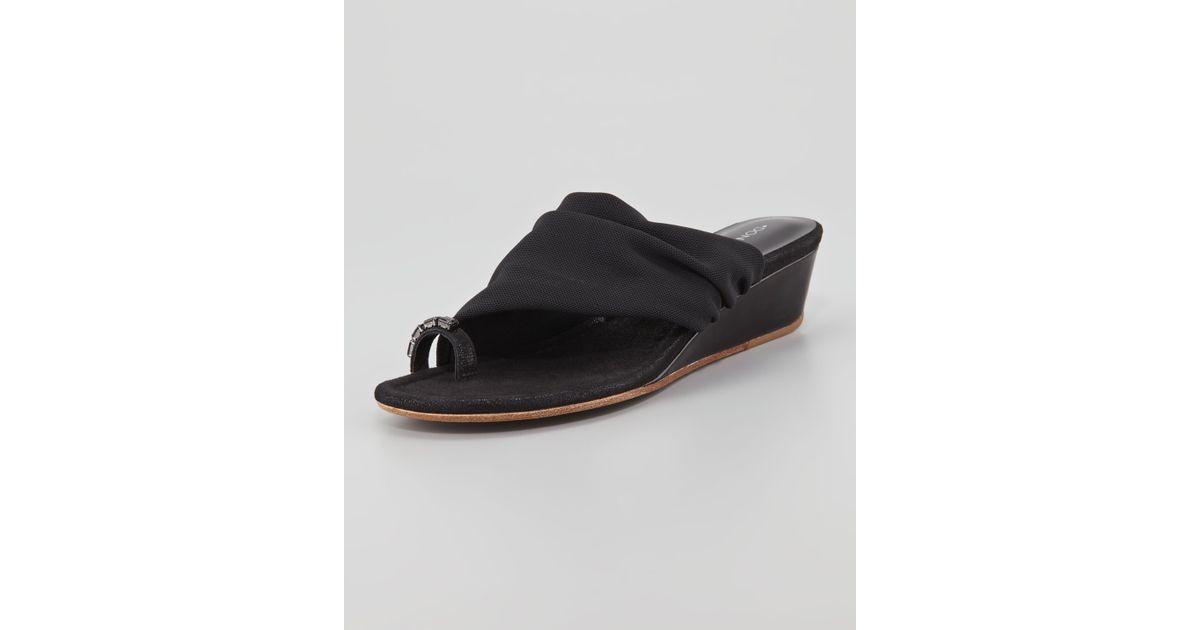 84d995c21d0 Donald J Pliner Delia Crystal Toe Ring Stretch Wedge Sandal Black in Black  - Lyst