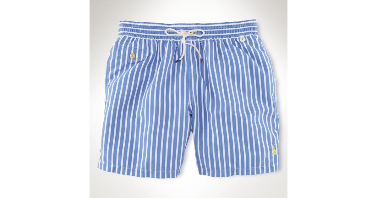 b57f54bca Polo Ralph Lauren Traveler 6 Striped Swim Short in Blue for Men - Lyst