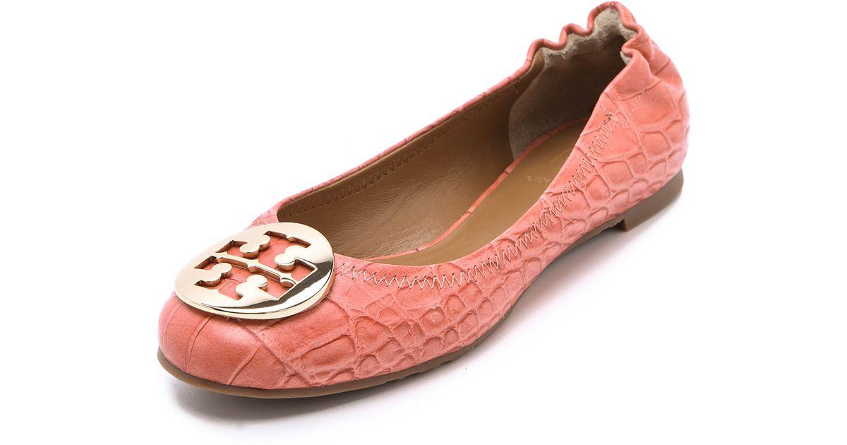772c41cea ... canada lyst tory burch reva croc ballet flats in pink afc76 2c333