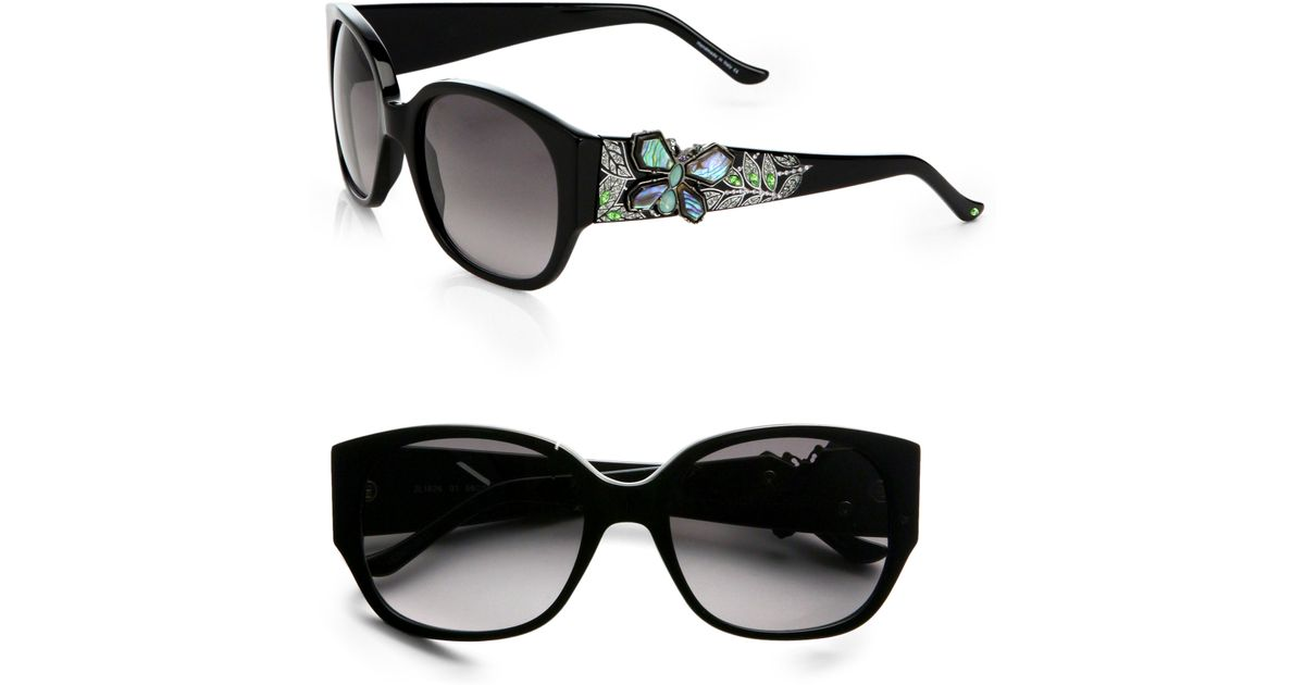 07003567aa Lyst - Judith Leiber Square Butterfly Sunglasses in Black