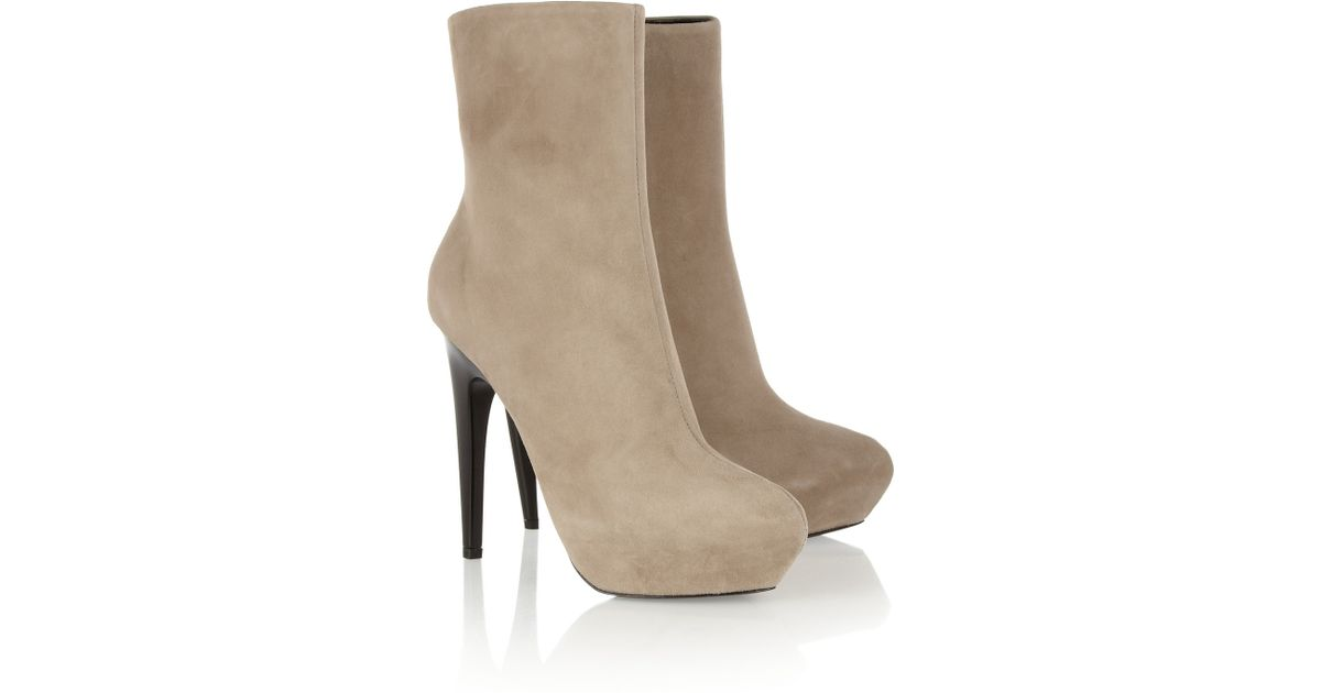 d78c8c09cd0 Lyst - Giuseppe Zanotti Suede Platform Boots in Natural