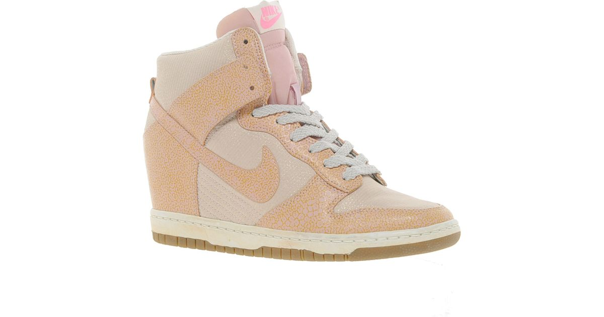 Lyst - Nike Dunk Sky High Top Pink Wedge Trainers in Pink f9e03fe0f9c6