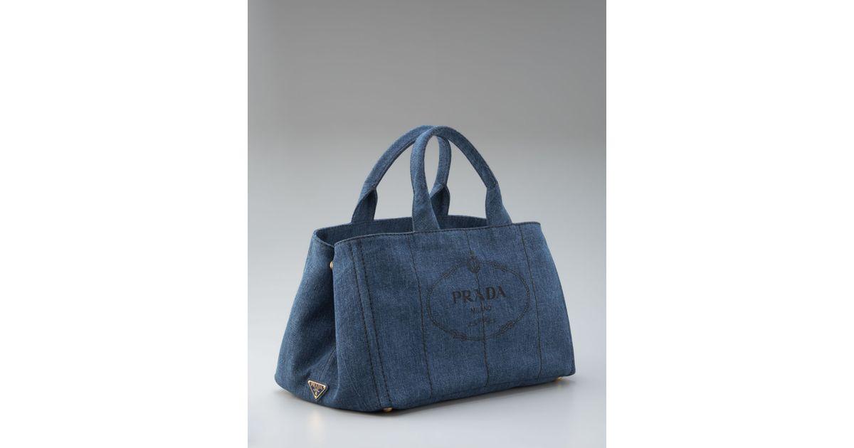 Lyst - Prada Denim Logo Tote in Blue 3e7745c7753b3