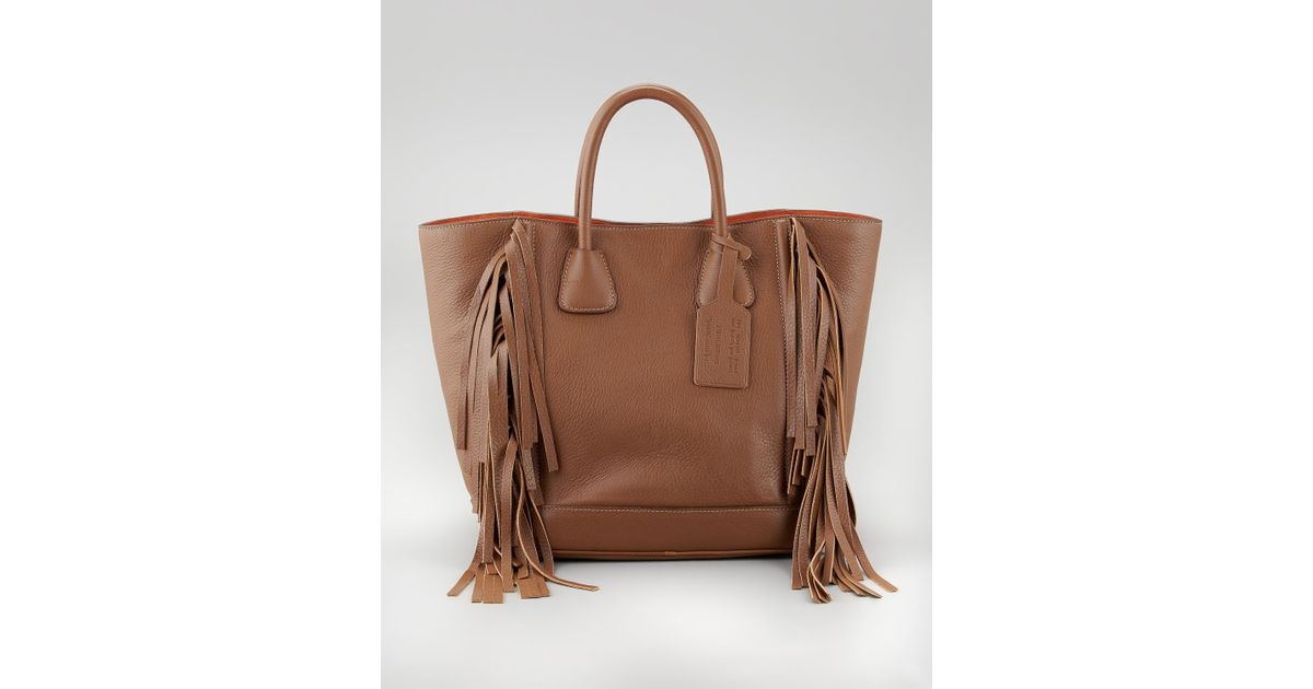 3973d9c96a1e ... denmark prada cervo fringe tote bag in brown lyst 0531c cc26d