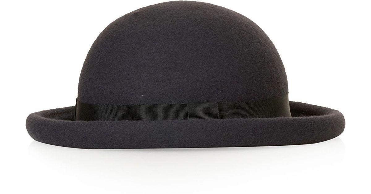 af6ebde994487 Lyst - TOPSHOP Roller Bowler Hat in Black