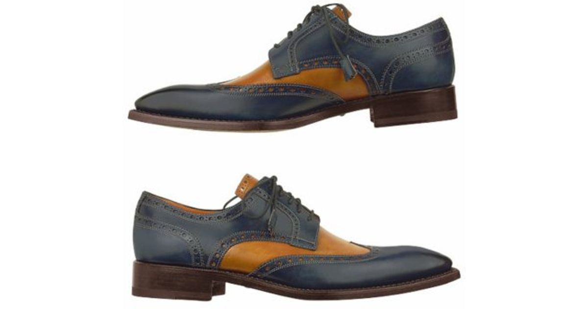 forzieri two tone handcrafted leather wingtip oxford shoes
