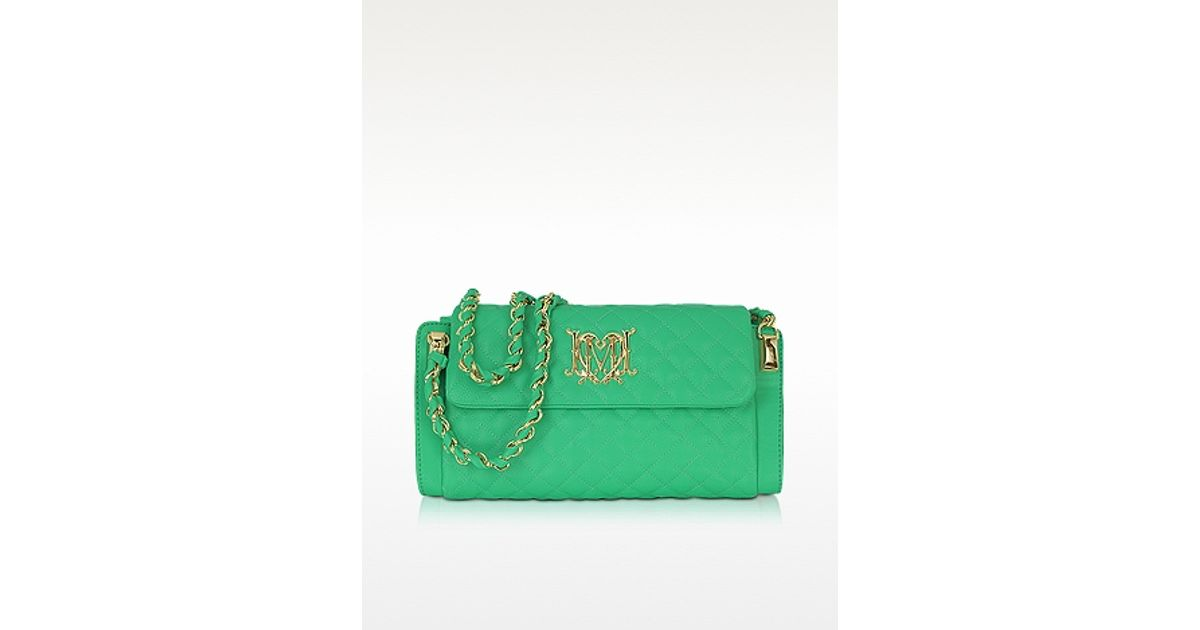 ffa3fca8714 Moschino Love Moschino Green Quilted Eco Leather Shoulder Bag in Green -  Lyst