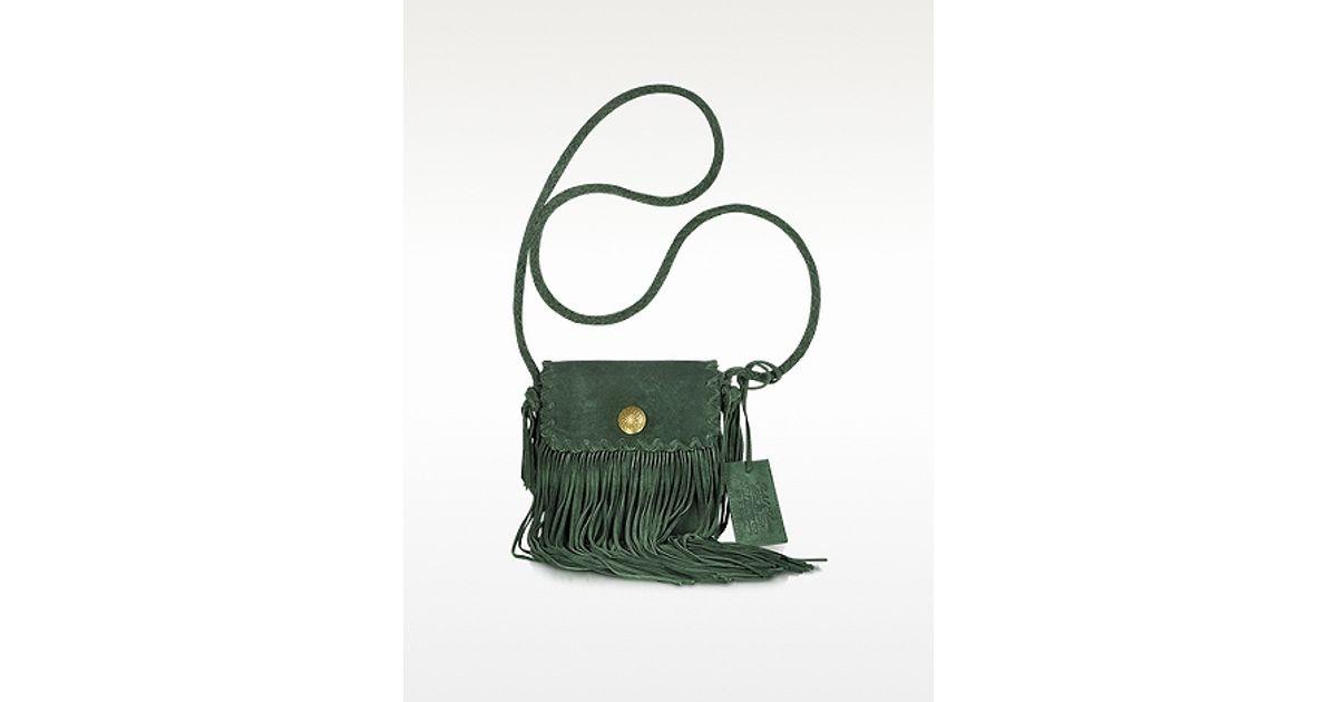 best ysl replica handbags - anita suede flat fringe crossbody bag, dark brown