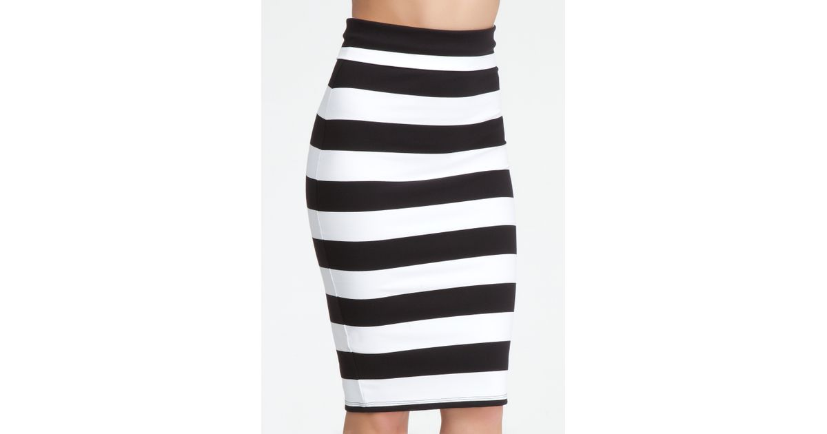 d10626d5c Bebe Wide Stripe Midi Skirt in Black - Lyst