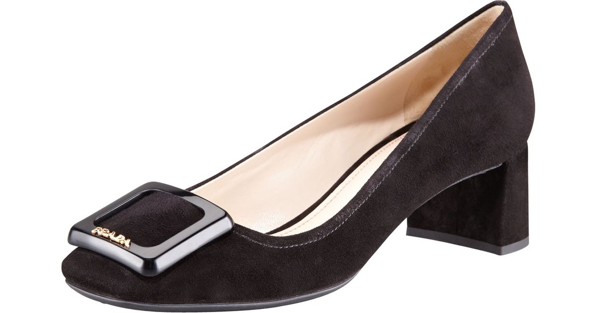 1bfdec3049e Ideal Lyst - Prada Suede Square Toe Block Heel Pump in Brown GP93