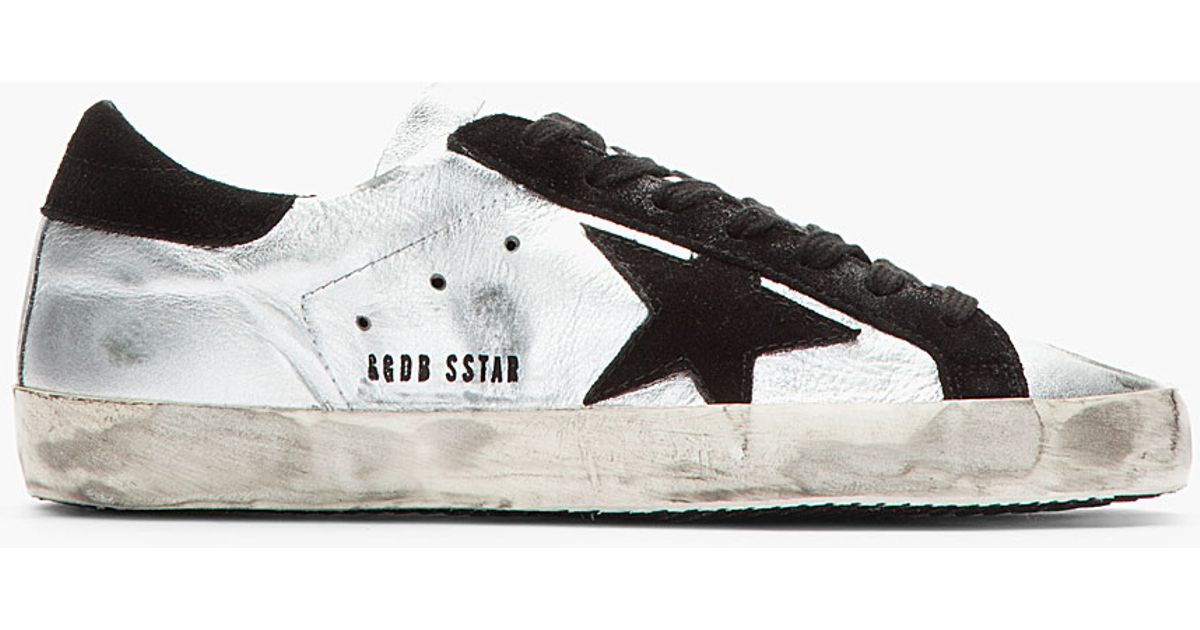 Silver Black Superstar Leather sneakers Golden Goose RywvTJz5