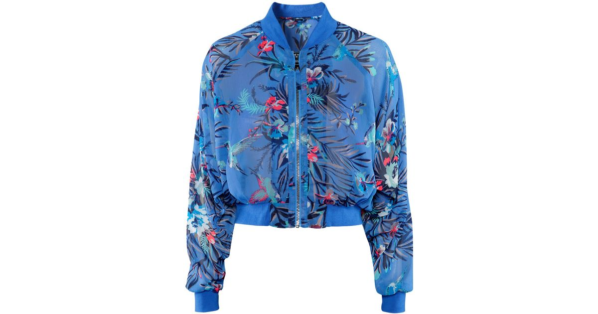 Blue Floral Bomber Jacket - JacketIn