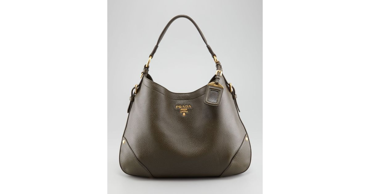 86f4dcde431b Prada Vitello Daino Snap Hobo Bag in Brown - Lyst