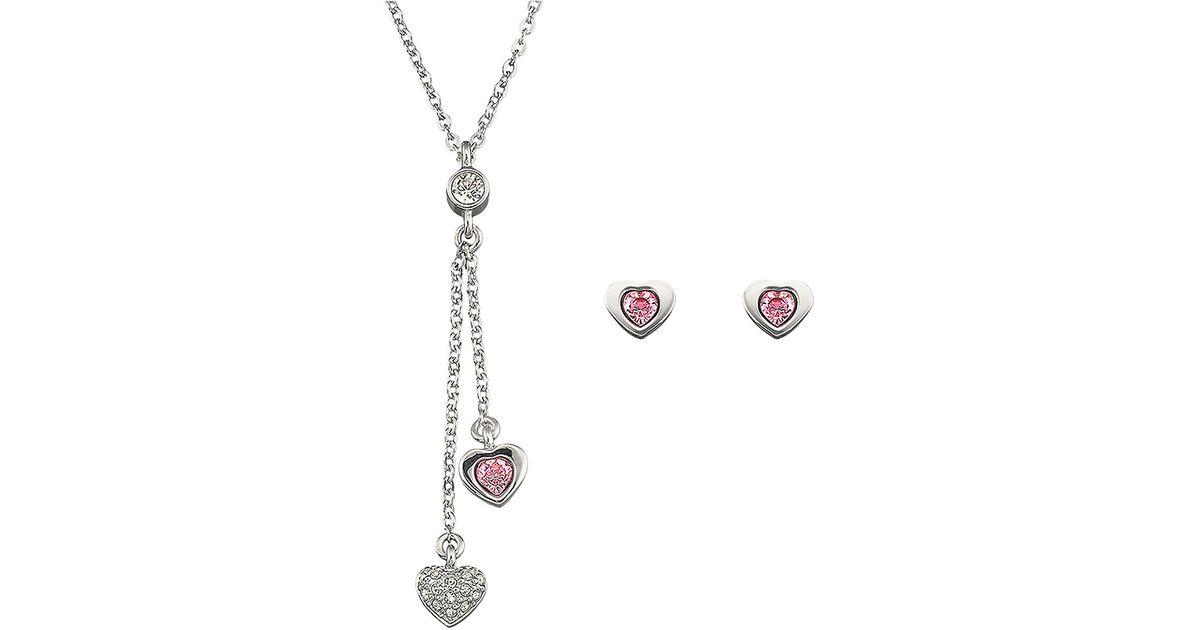 6a479bdf7 Swarovski Leslie Crystal Heart Necklace Earrings Set in Metallic - Lyst