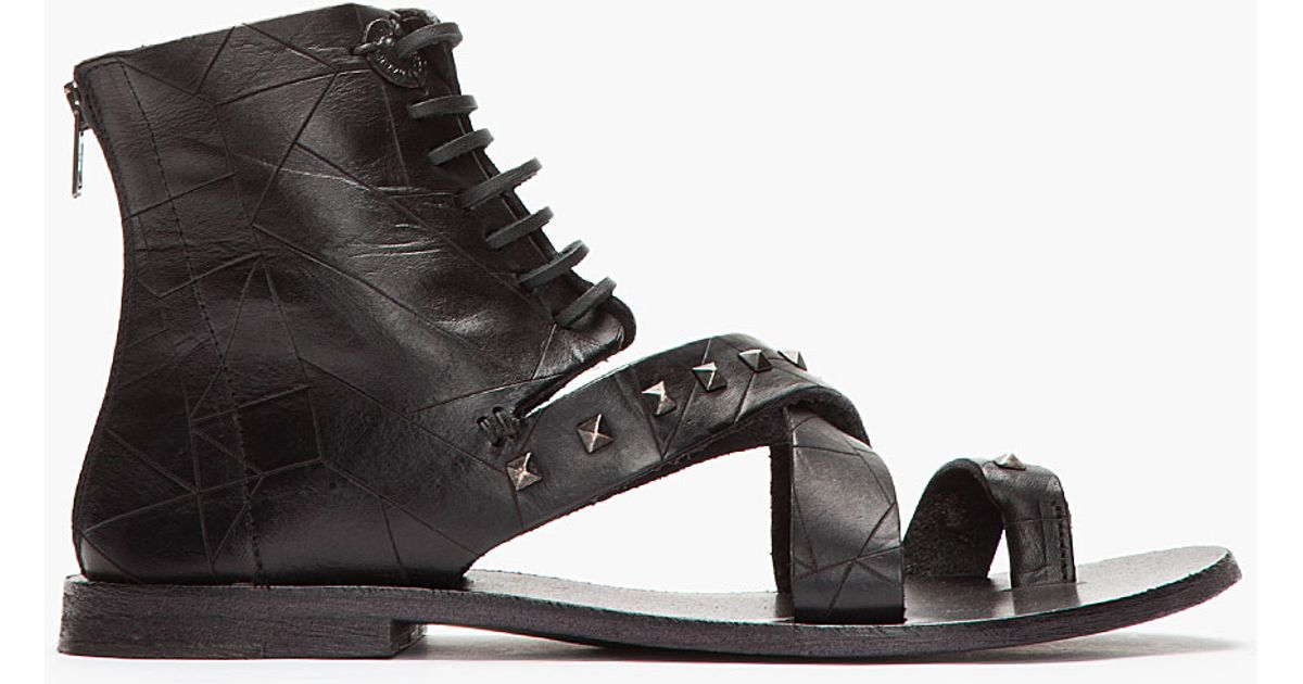 1f9b62eb4eb8 Lyst - Diesel Black Gold Black Studded Leather Anibal H Sandals in Black  for Men